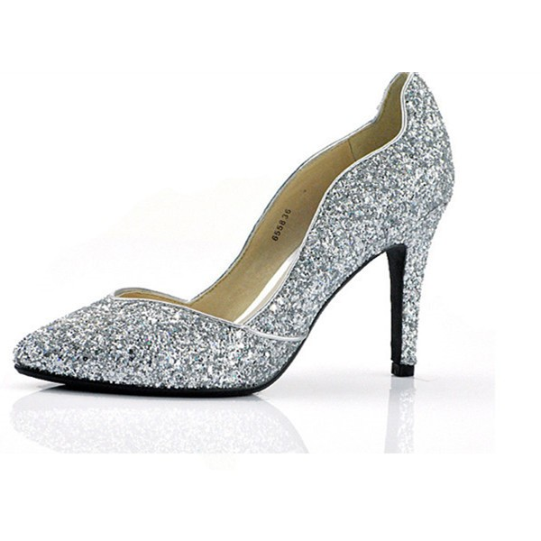 Sliver Sparkly Heels Pointy Toe Glitter Pumps for Big Day image 3