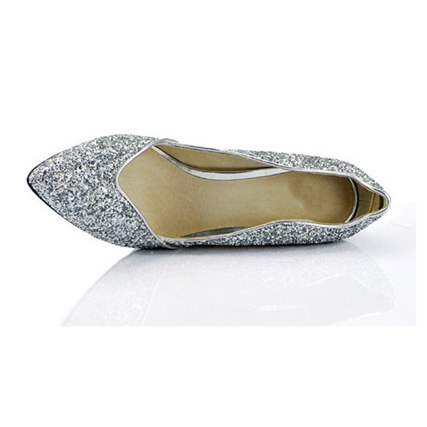 Sliver Sparkly Heels Pointy Toe Glitter Pumps for Big Day image 4