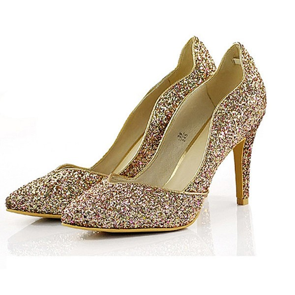 Golden Glitter Evening Shoes Pointy Toe Stiletto Heels image 1