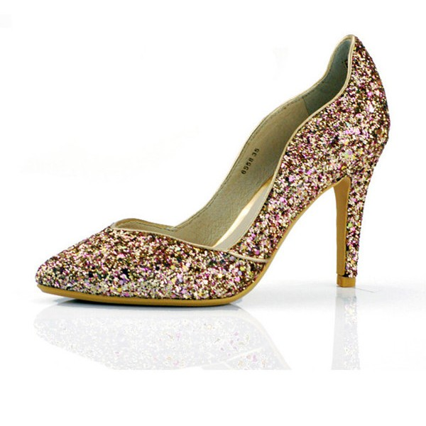 Golden Glitter Evening Shoes Pointy Toe Stiletto Heels image 5
