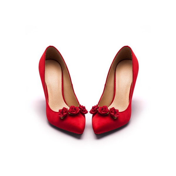 Red Wedding Heels Satin Floral Pumps Stiletto Heels Shoes for Bridesmaid image 5