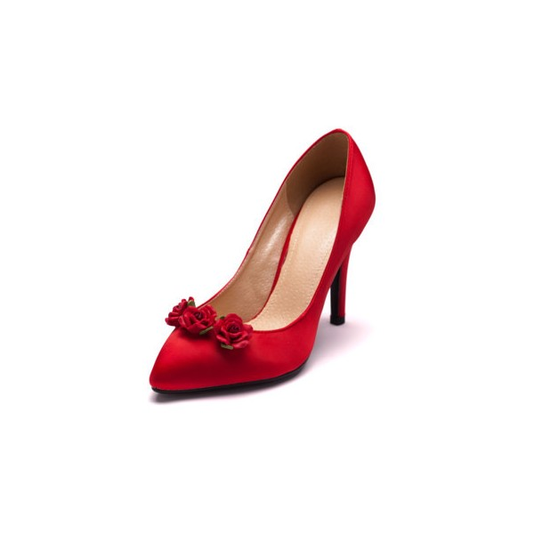 Red Wedding Heels Satin Floral Pumps Stiletto Heels Shoes for Bridesmaid image 4