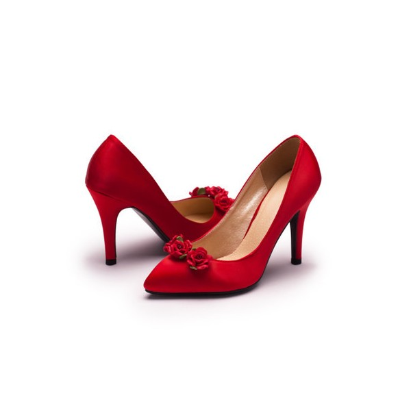 Red Wedding Heels Satin Floral Pumps Stiletto Heels Shoes for Bridesmaid image 1