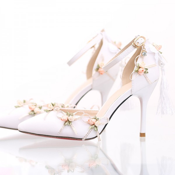 White Wedding Shoes Lace Satin Stiletto Heels Tassels Ankle Strap Pumps image 1