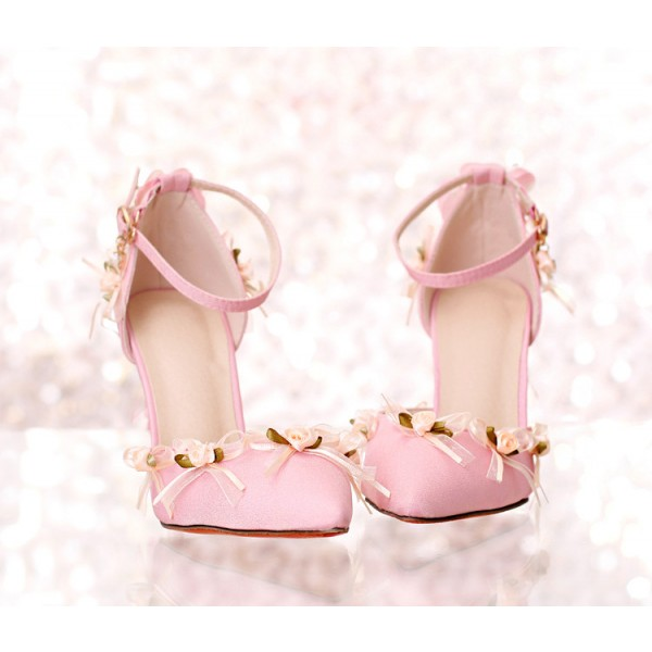 Pink Wedding Heels Tassels Stilettos Closed Toe Sandals for Bridesmaid image 3