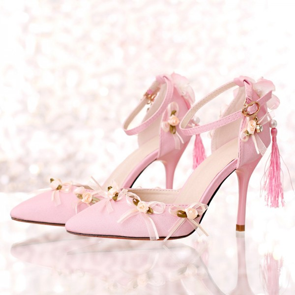 Pink Wedding Heels Tassels Stilettos Closed Toe Sandals for Bridesmaid image 1