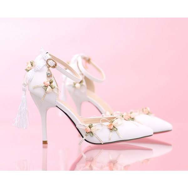 White Wedding Shoes Lace Satin Stiletto Heels Tassels Ankle Strap Pumps image 3