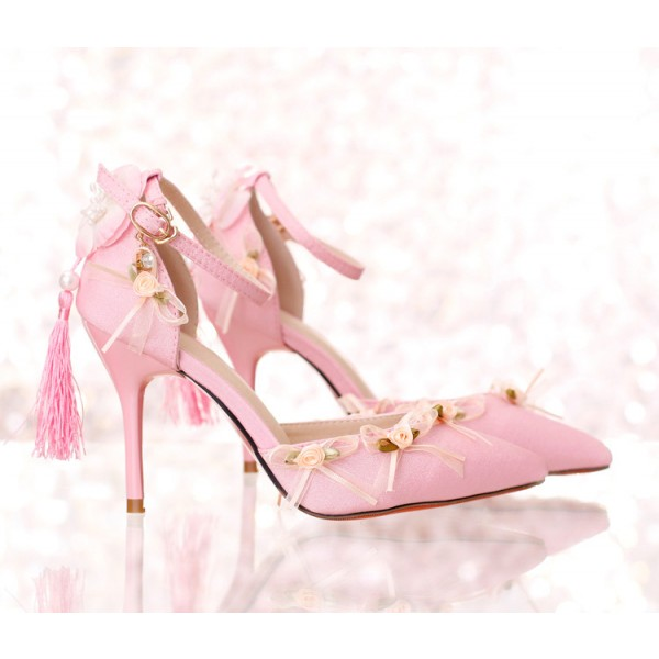 Pink Wedding Heels Tassels Stilettos Closed Toe Sandals for Bridesmaid image 5