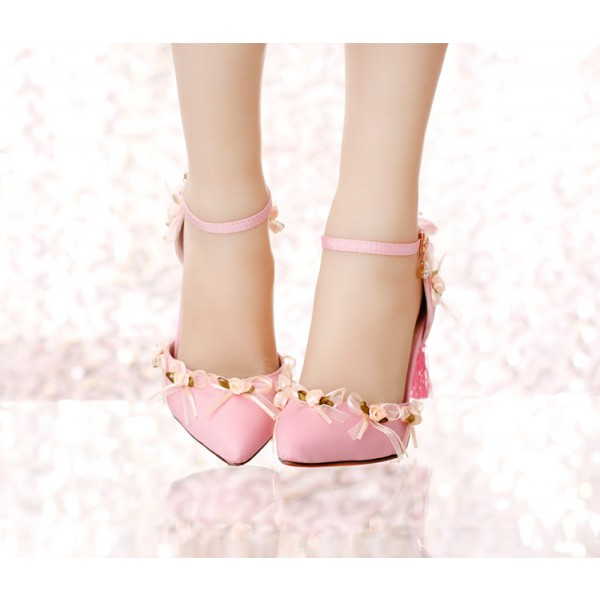 Pink Wedding Heels Tassels Stilettos Closed Toe Sandals for Bridesmaid image 4