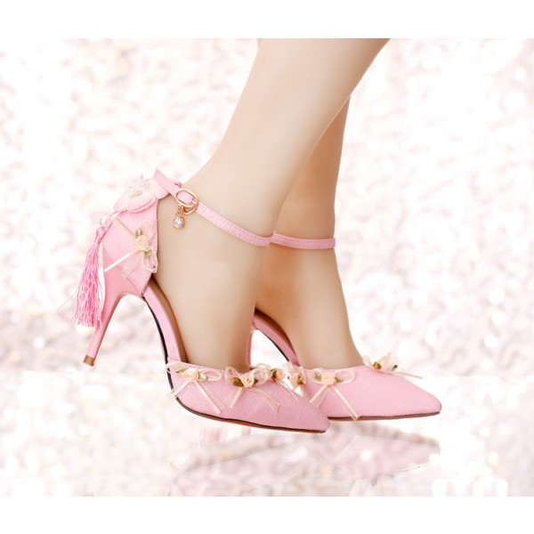 Pink Wedding Heels Tassels Stilettos Closed Toe Sandals for Bridesmaid image 2