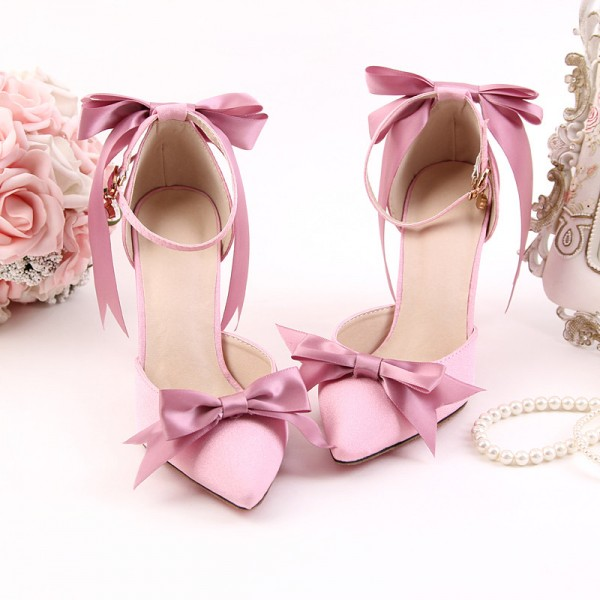 Womenu0027s Pink Bow Wedding Shoes Pointy Toe Stiletto Heels Ankle Strap Pumps  ...