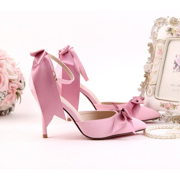 Women's Pink Bow Wedding Shoes Pointy Toe Stiletto Heels Ankle Strap Pumps image 4