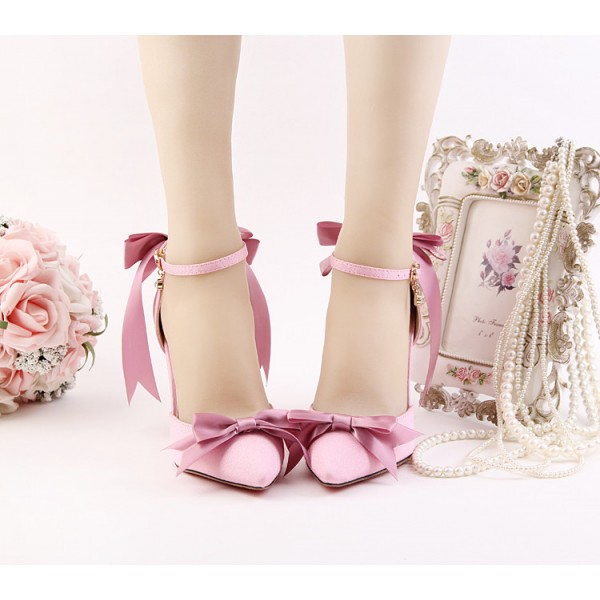 Women's Pink Bow Wedding Shoes Pointy Toe Stiletto Heels Ankle Strap Pumps image 2