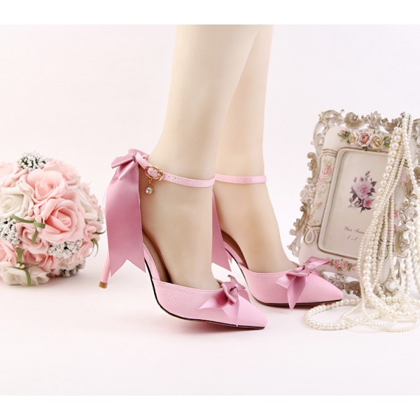 Women's Pink Bow Wedding Shoes Pointy Toe Stiletto Heels Ankle Strap Pumps image 5