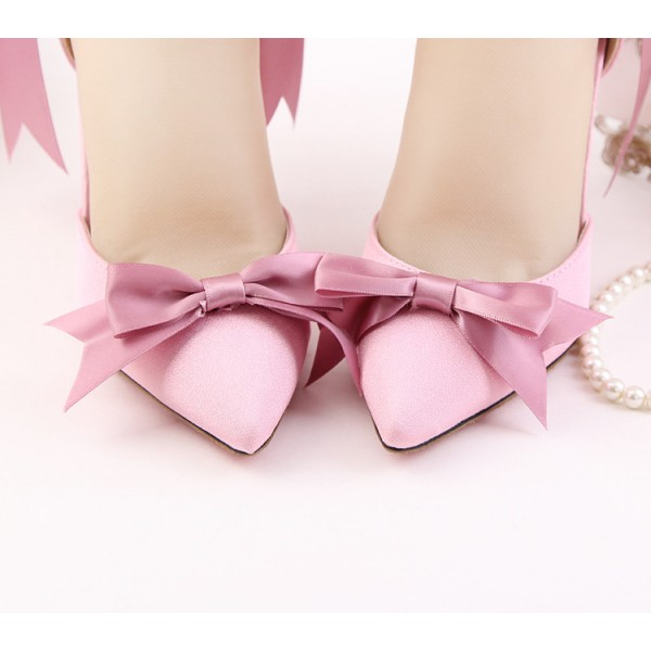 Women's Pink Bow Wedding Shoes Pointy Toe Stiletto Heels Ankle Strap Pumps image 3