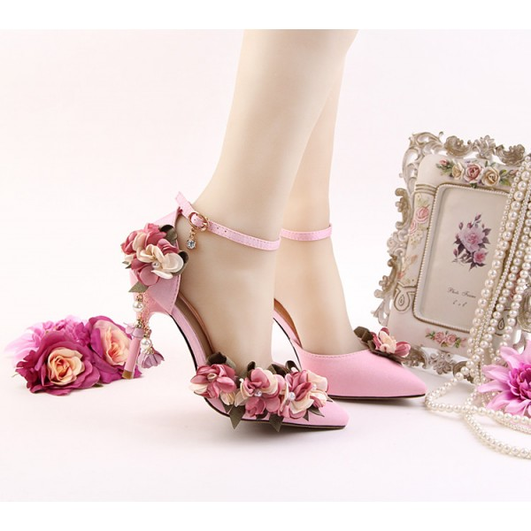 Pink Wedding Heels Ankle Strap Floral Closed Toe Sandals for Bridesmaid image 7