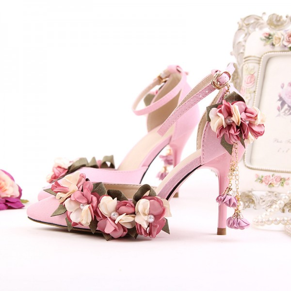 Pink Wedding Heels Ankle Strap Floral Closed Toe Sandals for Bridesmaid image 9