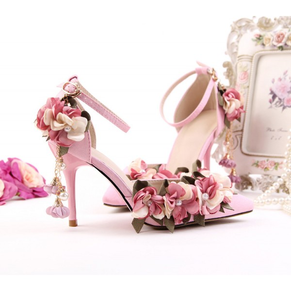 Pink Wedding Heels Ankle Strap Floral Closed Toe Sandals for Bridesmaid image 8