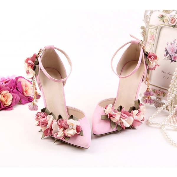 Pink Wedding Heels Ankle Strap Floral Closed Toe Sandals for Bridesmaid image 2