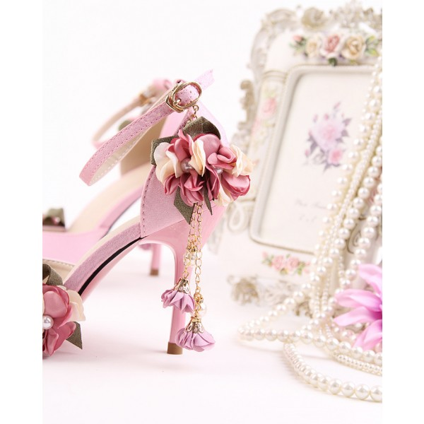 Pink Wedding Heels Ankle Strap Floral Closed Toe Sandals for Bridesmaid image 3