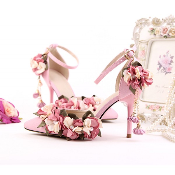Pink Wedding Heels Ankle Strap Floral Closed Toe Sandals for Bridesmaid image 1