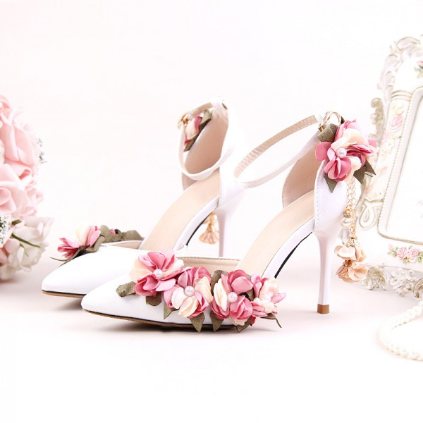White Bridal Sandals Floral Ankle Strap Closed Toe Heels for Wedding image 1