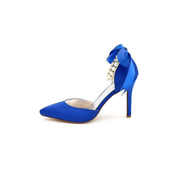 Women's Blue Bow Bridesmaid Shoes Stiletto Heel Wedding Shoes  image 4