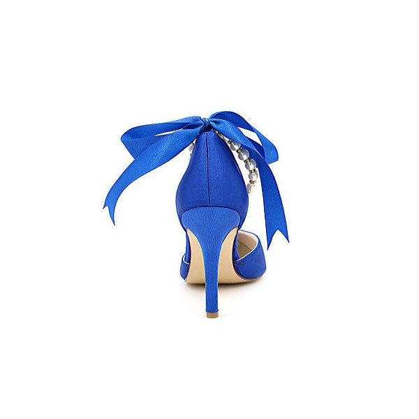 Women's Blue Bow Bridesmaid Shoes Stiletto Heel Wedding Shoes  image 3