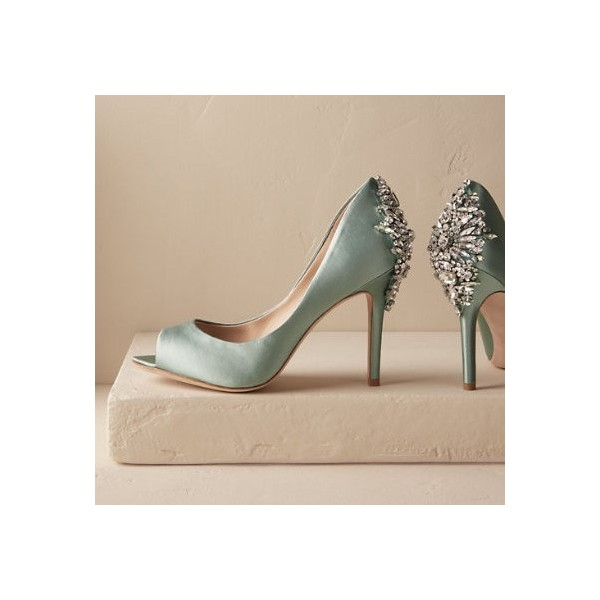 Green Wedding Shoes Satin Peep Toe Rhinestone Stiletto Heels Pumps for Wedding image 1