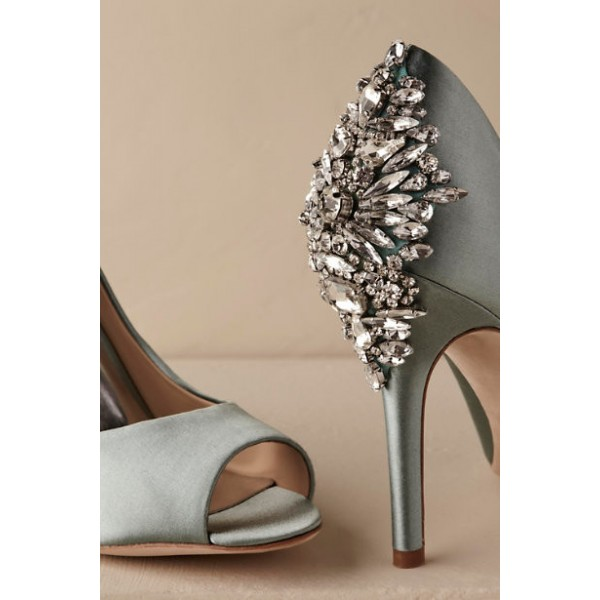 Green Wedding Shoes Satin Peep Toe Rhinestone Stiletto Heels Pumps for Wedding image 2