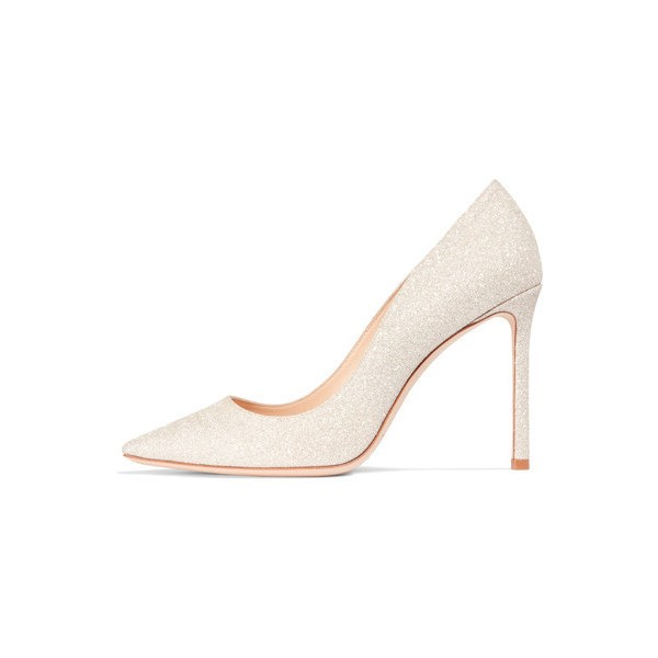 Champagne Low-cut Uppers Stiletto Heel Wedding Shoes image 1