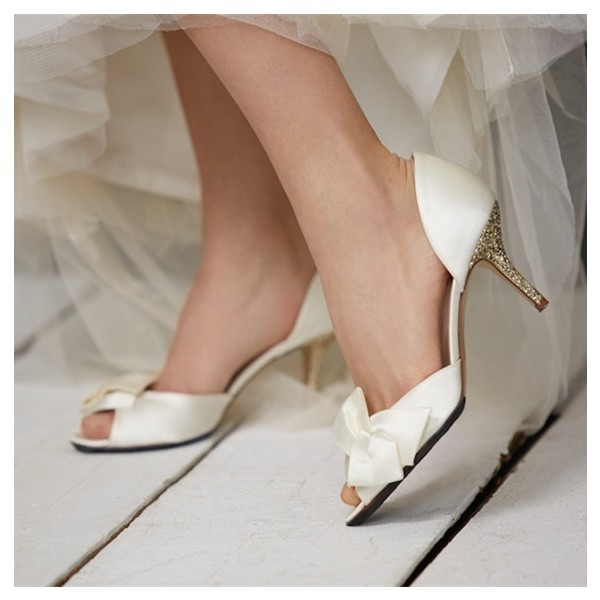 Ivory Satin Low Heel Wedding Shoes Peep Toe Glitter Bow Pumps image 1
