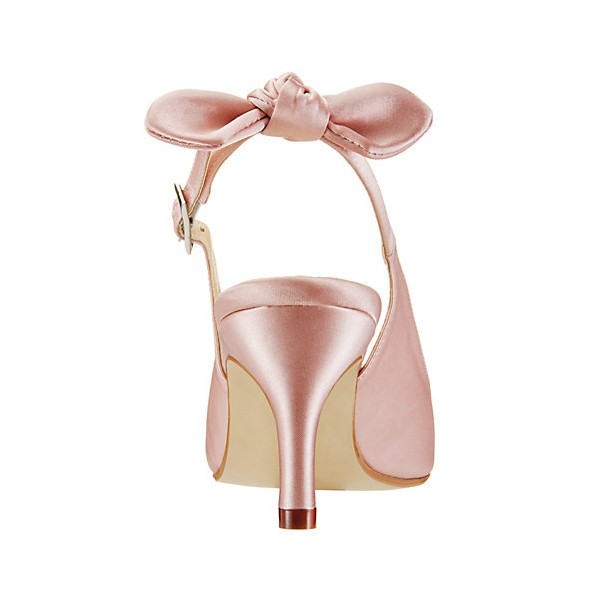 Women's Light Pink Pumps Satin Slingback Stiletto Kitten Heels Wedding Shoes image 2