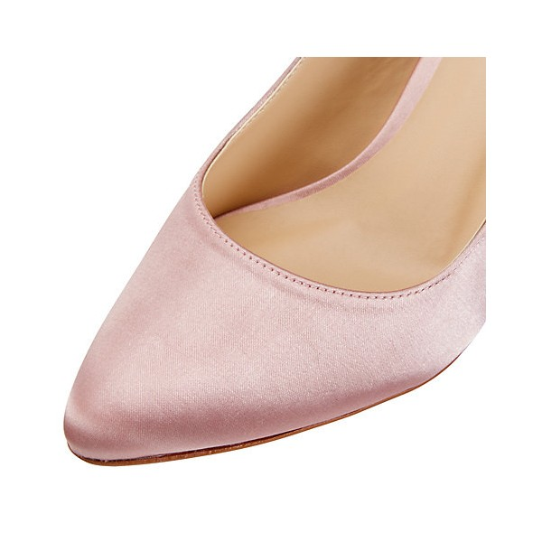 Women's Light Pink Pumps Satin Slingback Stiletto Kitten Heels Wedding Shoes image 3