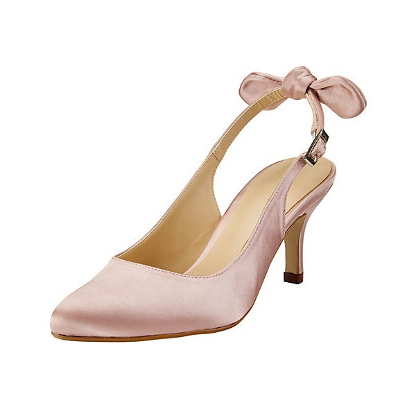 Pink Wedding Heels Slingback Kitten Heels Satin Pumps for Bridesmaid image 1