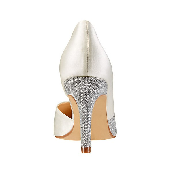 Ivory and Grey Wedding Heels Pointy Toe D'orsay Pumps for Bridesmaid image 3