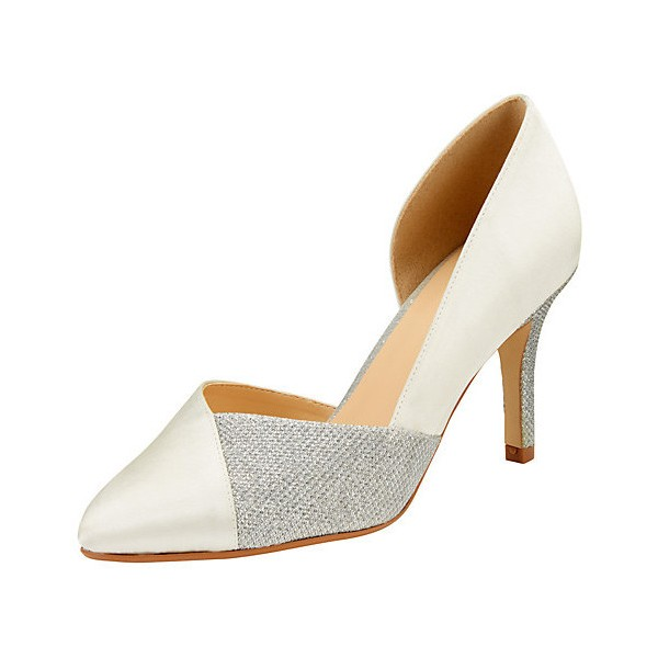 Ivory and Grey Wedding Heels Pointy Toe D'orsay Pumps for Bridesmaid image 1