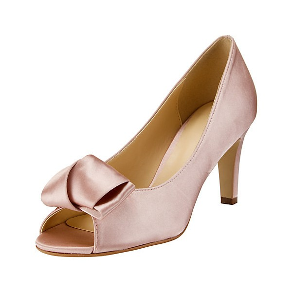 Pink Wedding Heels Peep Toe Satin Pumps with Bow image 1