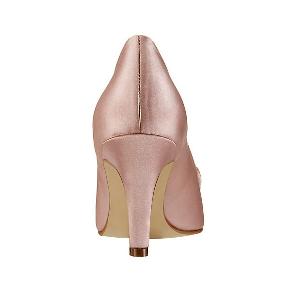 Pink Wedding Heels Peep Toe Satin Pumps with Bow image 3