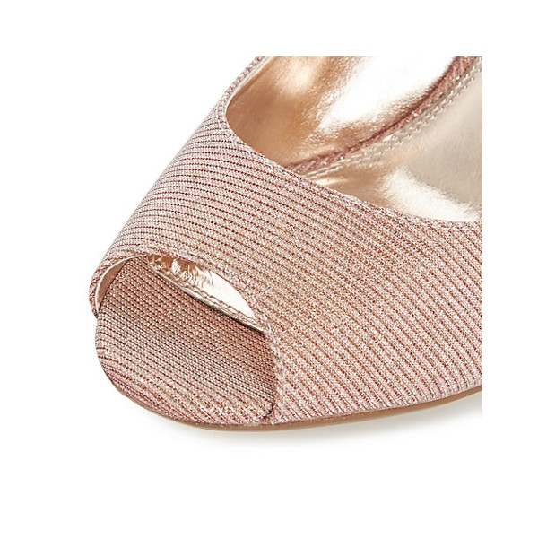 Peach Wedding Shoes Peep Toe Stiletto Heel Pumps for Bridesmaid image 4