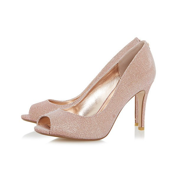 Peach Wedding Shoes Peep Toe Stiletto Heel Pumps for Bridesmaid image 1