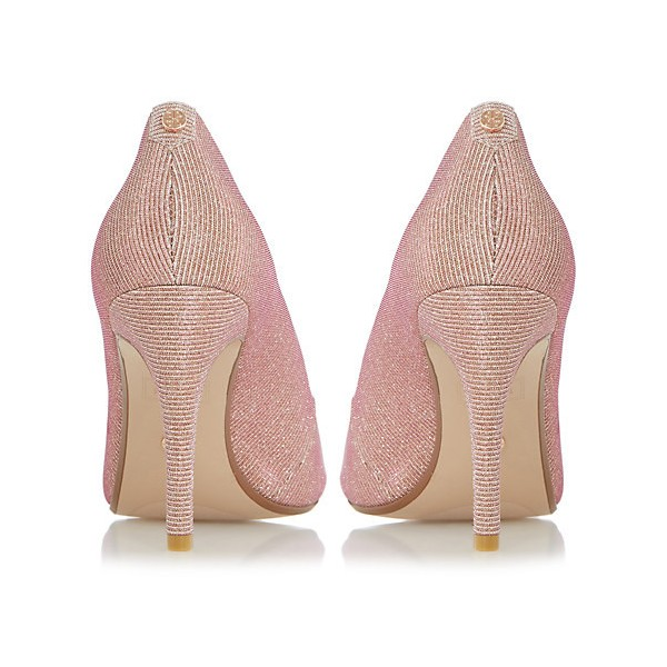 Peach Wedding Shoes Peep Toe Stiletto Heel Pumps for Bridesmaid image 2
