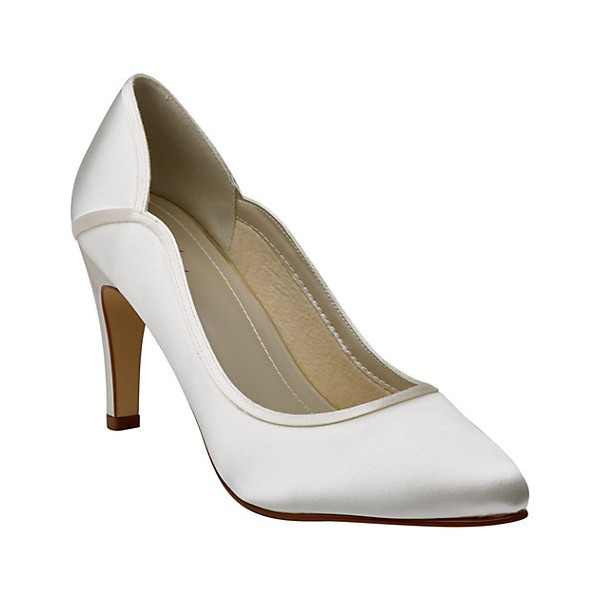 Women's White Low-cut Uppers Satin Pumps Bridal Heels image 2