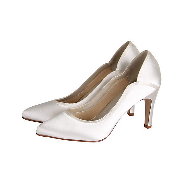 Women's White Low-cut Uppers Satin Pumps Bridal Heels image 1