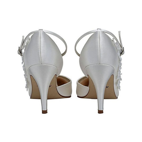 White Bridal Heels Satin Floral Ankle Strap Wedding Shoes image 4