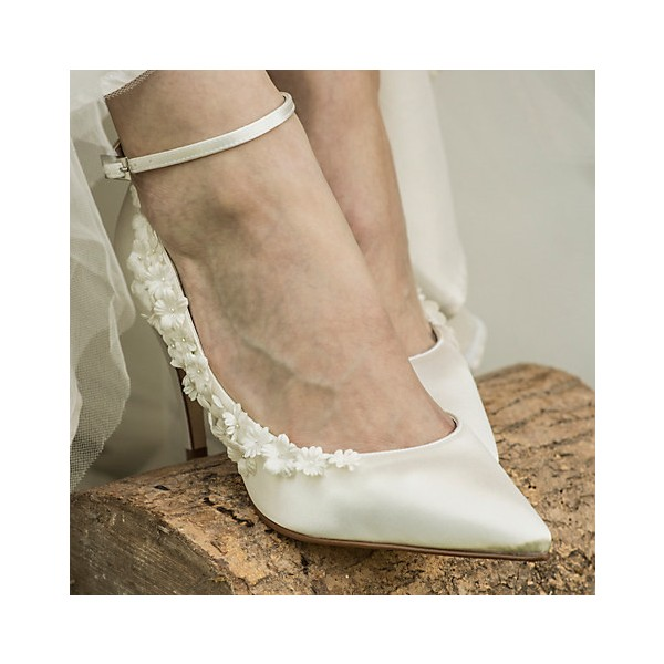 White Bridal Heels Satin Floral Ankle Strap Wedding Shoes image 2