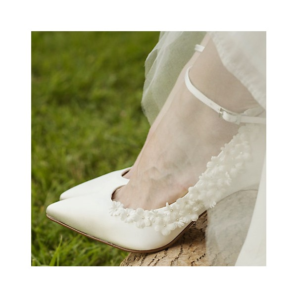White Bridal Heels Satin Floral Ankle Strap Wedding Shoes image 1
