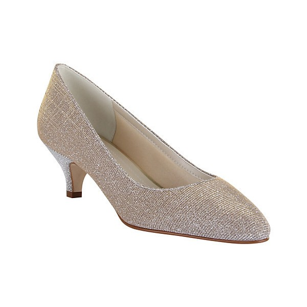 Women's Champagne Low-cut Uppers Kitten Heel Wedding Shoes image 2