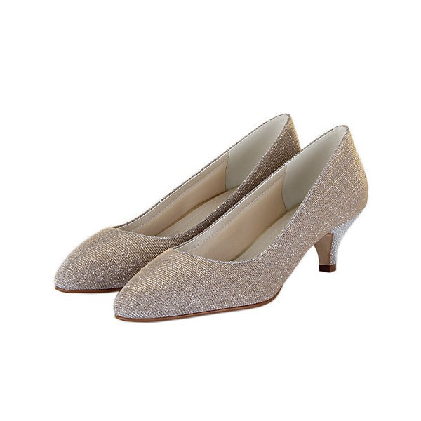 Women's Champagne Low-cut Uppers Kitten Heel Wedding Shoes image 1