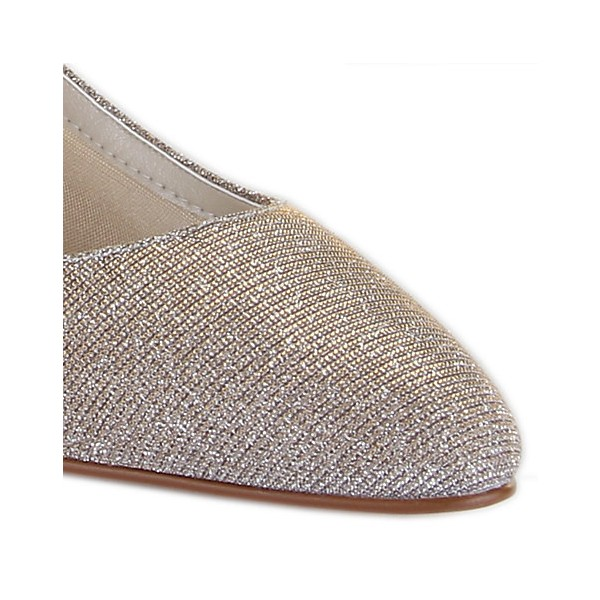 Women's Champagne Low-cut Uppers Glitter Kitten Heel  Pumps Bridal Heels image 3